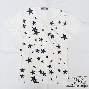 スター Vネック Tシャツ TEE 半袖 白 星 STARS 総柄 68XL