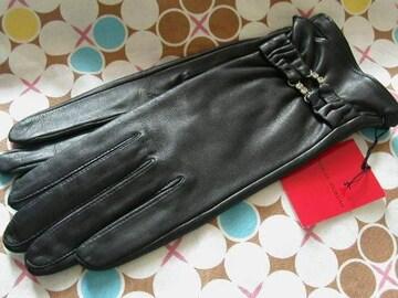 シャルルジョルダン ラインストン20羊皮革黒手袋