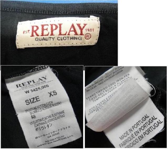 REPLAY/リプレイ★七分丈ロゴ入りTシャツ★サイズXS レディース★ブラック < ブランドの
