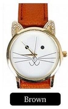 ★ラインストーン耳デザイン&猫絵腕時計PUレザーベルトBr