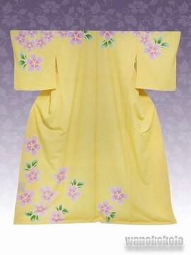 【和の志】洗える着物◇袷・付下げ◇黄色系・桜柄◇KTK-123