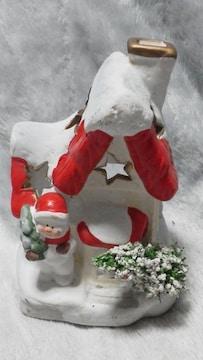 特価X'mas可愛いサンタの家・陶器キャンドル ホルダー未使用美品
