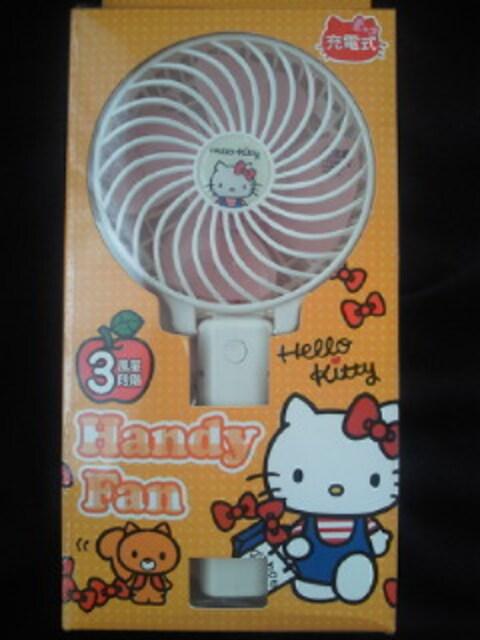 ハローキティ キティ ハンディ 扇風機 充電式 ホワイト コンパクト 携帯 < 家電/AVの