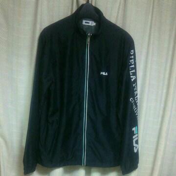フィラFILA ワンポイントロゴ刺繍プリントナイロンジャケットLサイズ黒ブラックスポーツメンズ服