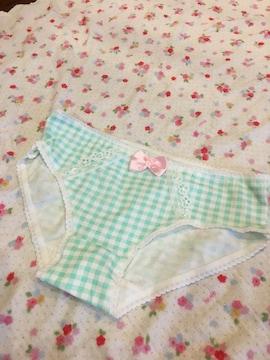綿ショーツ☆。.:*コットンパンティ♪緑チェックのパンティ☆