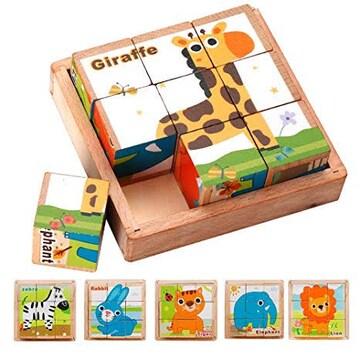 3D立体パズル キューブパズル 動物6面 9コマ 木製 積み木 ブロッ