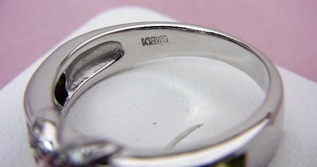 K18WG ダイヤモンド カラーストーン リング 14号 A262 新品仕上げ済み < 女性アクセサリー/時計の
