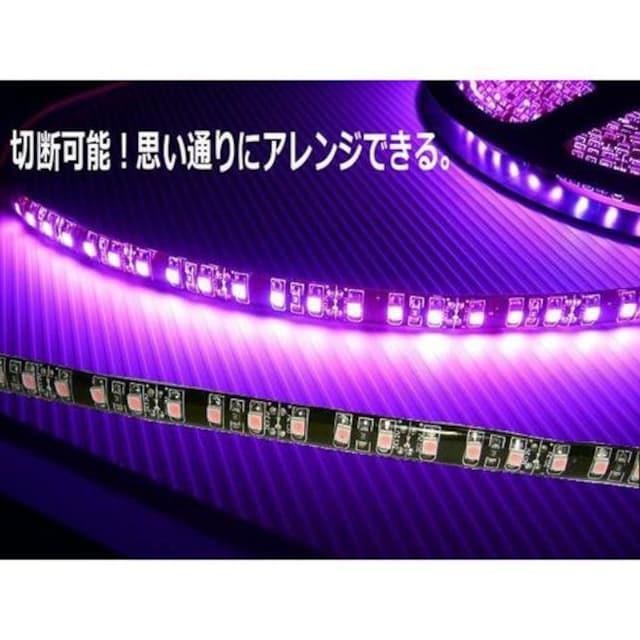 送料無料!5M防水SMDLEDテープライト/ピンク(黒ベース)/一本物 < 自動車/バイク