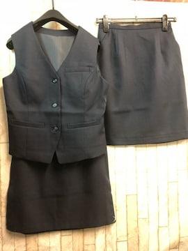新品☆9号お仕事ベストスーツ同スカート2枚付き!紺☆n293