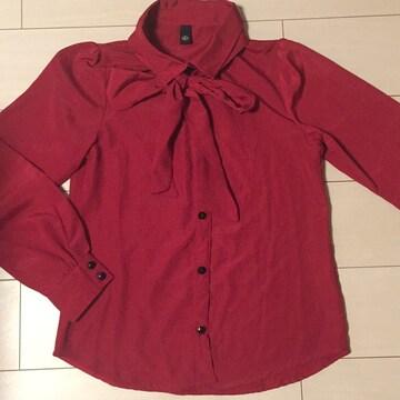 赤☆リボンシャツ☆ボータイ付きブラウス☆長袖カットソー