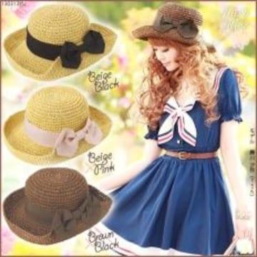 【夢展望】可愛い折返しリボンボーラ帽ベージュ×ピンク