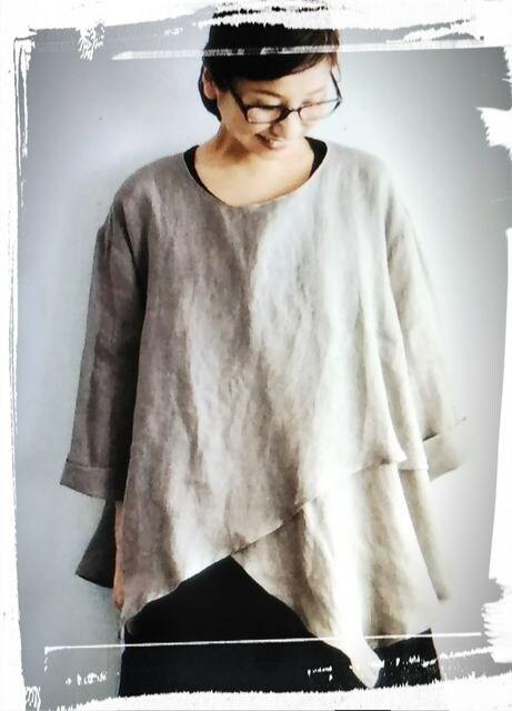 *08Mab*リネンシャンブレー 裾レイヤードpo 新品 gray < 女性ファッションの