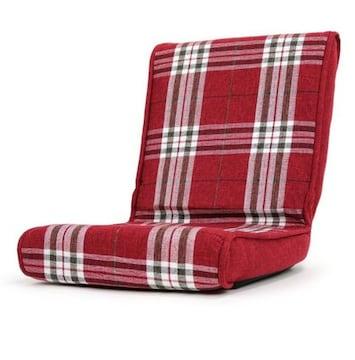 コンパクト こたつ 椅子 フロアーチェア チェックレッド