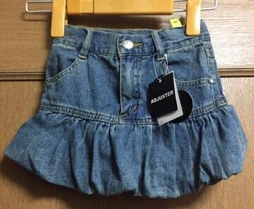 新品☆100cm☆ブルマ風デザインデニムスカート☆1点のみ