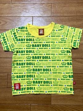 BABYDOLL☆100cmTシャツ☆イエロー×グリーン☆ロゴロゴ