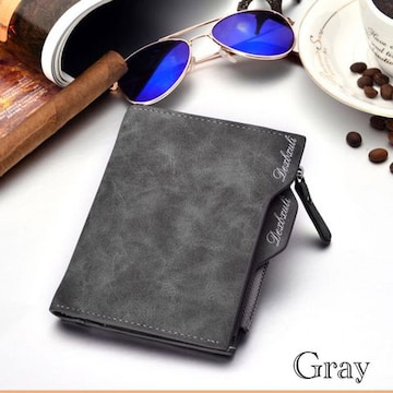 財布 二つ折り財布 ヴィンテージ レザー 札入れ 小銭 グレー