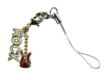 携帯ストラップ ギター ROCK ホワイト