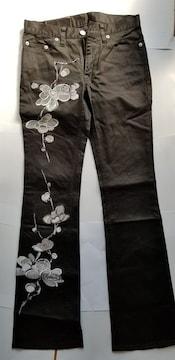 GLAMDY 黒ストレッチパンツ 梅刺繍 和柄