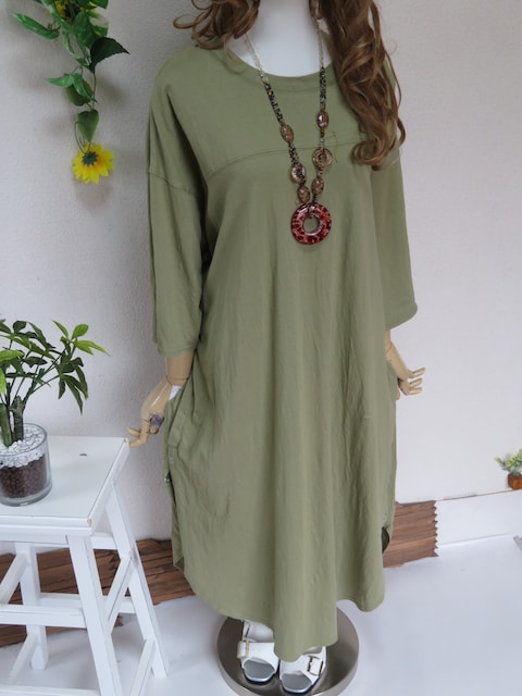 新作◆大きいサイズ3Lグリーン◆裾サイドボタン付◆ロングチュニック < 女性ファッションの