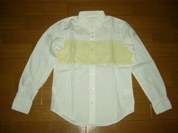 新品TMT2トーンBDシャツS白長袖ボタンダウンティーエムティー