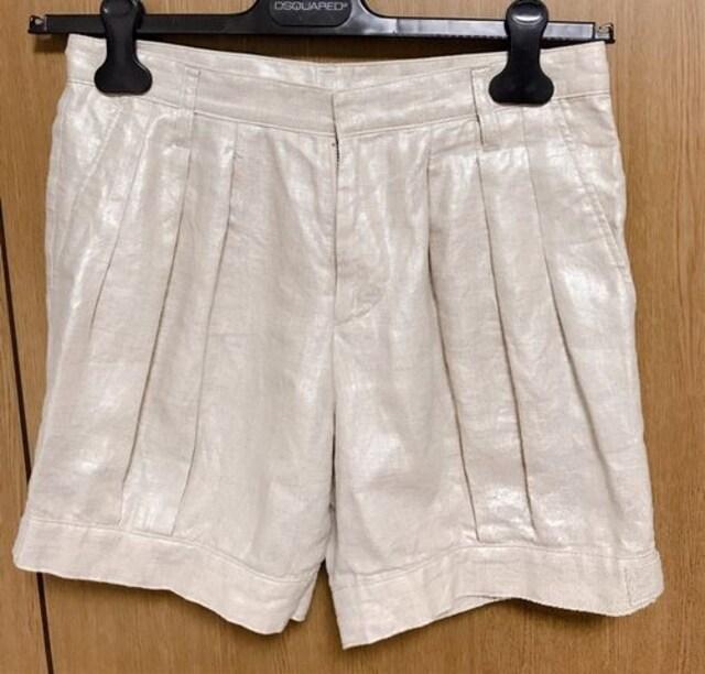 M19】ショートパンツ 麻  春夏物  < 女性ファッションの