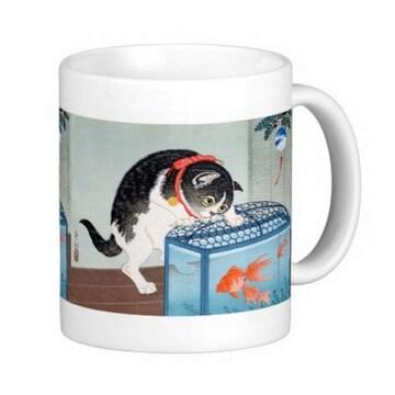 小原古邨『 猫と金魚 』のマグカップ