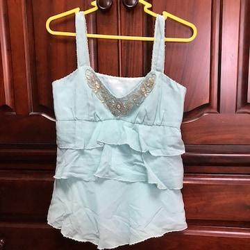美品 クランドゥイユ 繊細ビジュ付き ドレスキャミソール
