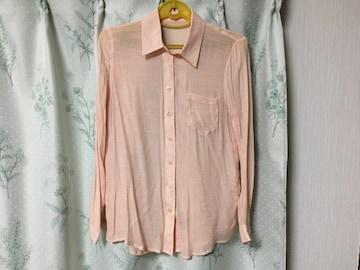 新品未使用ピンク長袖シフォンブラウスシャツ