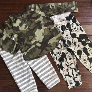 特価♪新品GAP☆95 ロンT パンツ 3点セット ミッキー カモフラ ギャップ