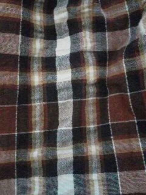 Fー138★チェック柄メンズショーツ ブラウン M < 男性ファッションの