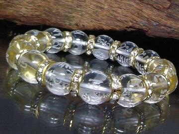 六字真言水晶12ミリ金ロンデル数珠