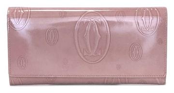 正規カルティエ長財布二つ折りハッピーバースデーピンク
