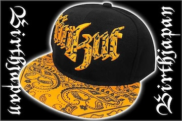 B系HIPHOP系ペイズリー刺繍キャップ/ヤンキーオラオラ系悪羅悪羅系帽子85黒2