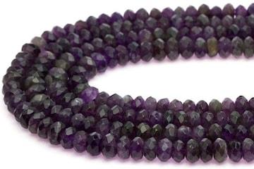 ☆天然石アメジスト(紫水晶)☆ボタンカット型4×8mmビーズ1連