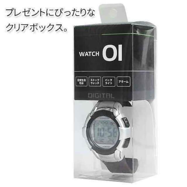 2個 WATCH 01 防水 バックライト アラーム/ストップウォッチ付 < インテリア/ライフの