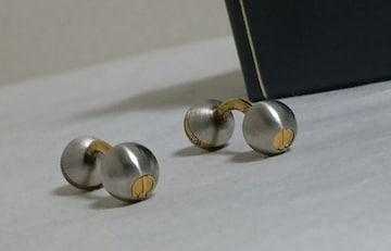 正規美レア ダンヒルdunhill ヴィンテージ dロゴボール型カフス銀×金 オーバルボタン