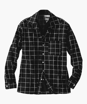 Lサイズ!クールな紳士的!イタリアンカラー切替!前ボタン!二重デザイン長袖シャツ!黒!