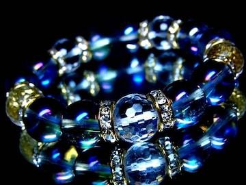 ブルーオーラ§128面カット水晶§12ミリ§金ロンデル