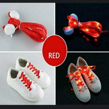 新品 未使用 靴 紐 ライト 点滅 点灯 光 防犯 赤