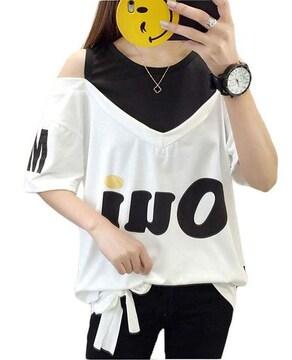 オフショルダー ゆったりTシャツ(2XL寸・白)
