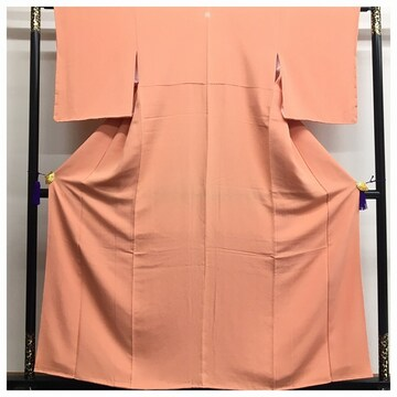 美品 上質 正絹 色無地 一つ紋入り 薄いオレンジ 未使用品柄