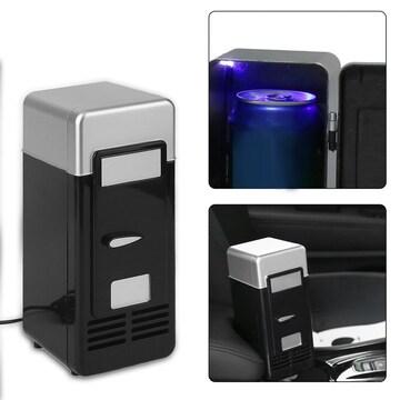 ミニ冷蔵庫 USB冷蔵庫 ドリンク飲料缶 冷蔵庫ヒーター B