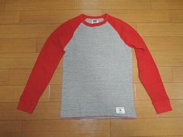 ラッツRATSカットソーM灰赤サーマル調ロンTシャツ・ワッフル