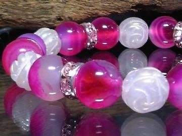 ピンクストライプアゲート§薔薇彫りローズクォーツ数珠