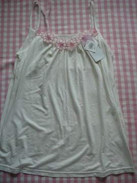 Lサイズインナーキャミソール 白ピンクお花刺繍