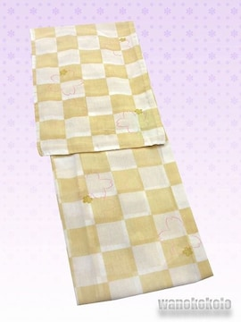 【和の志】夏の洗える着物◇紗・L◇クリームイエロー・市松61