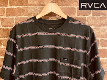 表記S/新品!ルーカ RVCA ロゴ 総柄 ボーダー Tシャツ カリフォルニア サーフ アメカジ