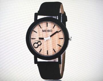 腕時計 レディース おしゃれ 木目調文字盤 ブラックベルト