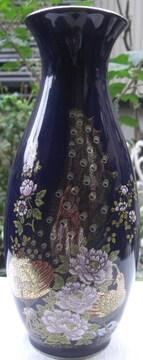 明陶造九谷焼/花鳥図金彩花瓶「孔雀にボタン」中古美品
