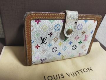 鑑定済み。ルイヴィトン。マルチカラー二つ折りガマ口財布。美品